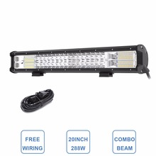 20″ Tri-Row LED Light Bar Combo 288W LED Work Lamp 12V 24V Truck Trailer Camper 4×4 4WD SUV ATV Wagon Pickup Driving Headlight