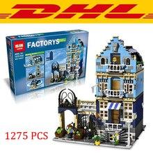 2016 New LEPIN 15007 1275Pcs Factory City European Market Street Model Building Kit Minifigure Block Bricks Children Toys Gift