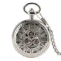 Retro Pattern Roman Number Mechanical Hand Wind Pocket Watch Men Skeleton Hollow Vintage Punk Mechanical Pocket Watches Gifts
