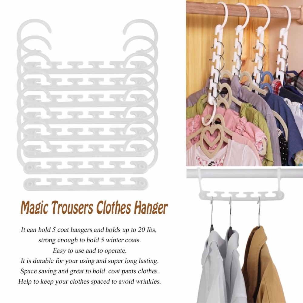 Portable 8 Pcs Space Saving Magic Trousers Clothing Hanger Coat Pants Clothes Closet Organizer Hooks Hanger RackPortable 8 Pcs Space Saving Magic Trousers Clothing Hanger Coat Pants Clothes Closet Organizer Hooks Hanger Rack