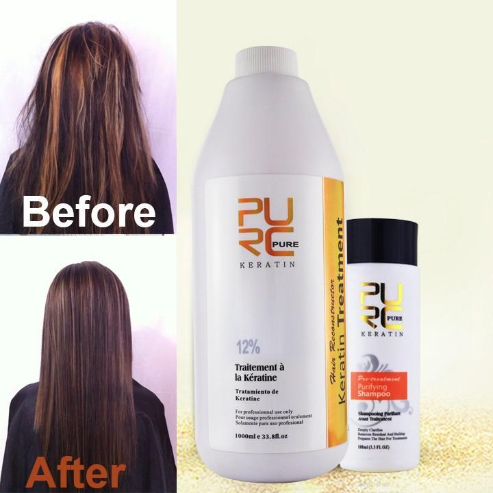 ФОТО 12% Formalin brazilian keratin treatment and 100ml deep cleanning shampoo wholesale Professional salon hairstyles hair care