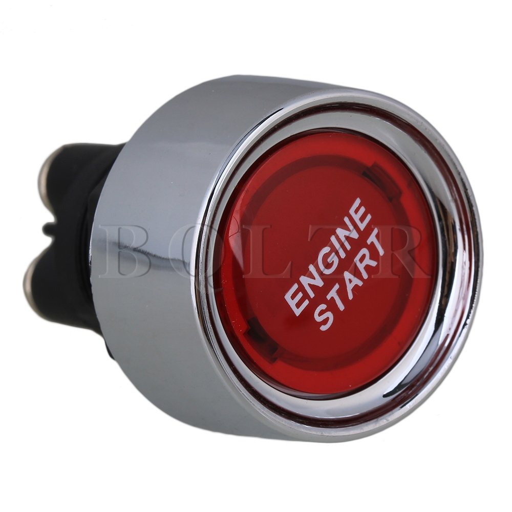 BQLZR Auto Engine Ignition Starter Push Button OFF-(ON) Switch 12V 24V Red Pattern bqlzr dc12 24v black push button switch with connector wire s ot on off fog led light for toyota old style