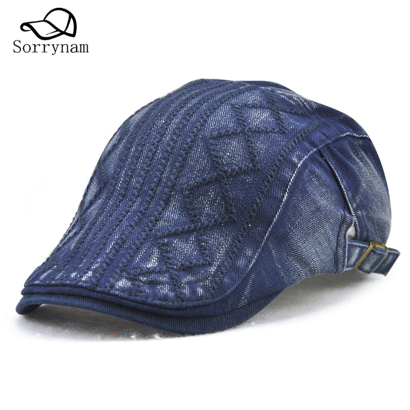 38e8a65f10c 2017 New Fashion Embroidery Vintage Fashion Twill Wild cap Line Embroidery  Alignment Diamond grid Beret Leisure Hat-in Berets from Apparel Accessories  on ...