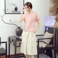 New Pink Cotton Linen Ladies Summer O Neck Chinese Women Casual Short Flower Shirt Chinese Vintage