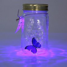 Novelty Light Butterfly Jar with Lamp Romantic Glass LED Lamp Butterfly in a Jar Valentine Children Gift Home Decoration D