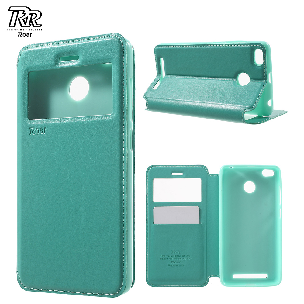 ROAR KOREA for Redmi3s Cover Window View TPU Leather Stand Case for Xiaomi Xiomi Redmi 3 S 5.0 Mobile Phone Funda Coque Cases