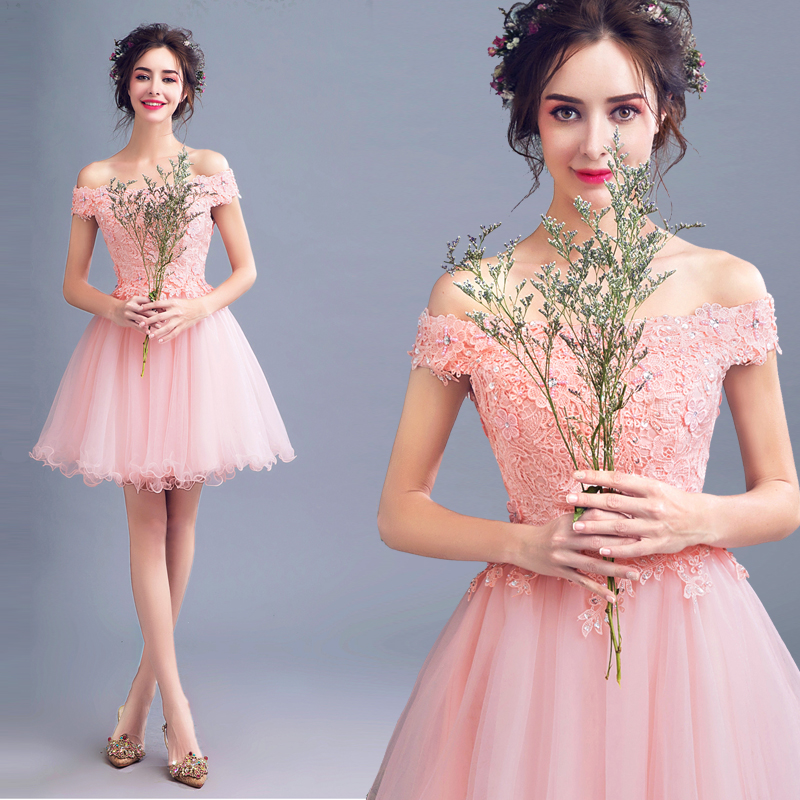2018 new stock plus size women pregnant   bridesmaid     dresses   wedding party boat neck lace flower sexy romantic cheap pink   dress