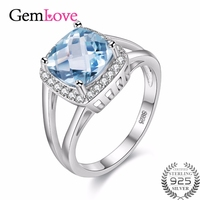 Gemlove 925 Sterling Silver 3ct Blue Topaz Rings Jewelry Finger Engagement Ring With Stone Anillos Mujer