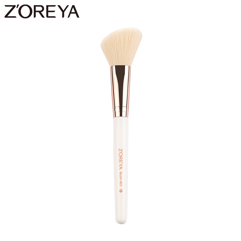 Zoreya Brand 2017 Hot sale oblique Synthetic Hair make up blush brush women Beatury Wooden handle make up tool