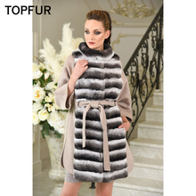 цена TOPFUR Women Real Fur Coat Luxury Woolen Skin Fur Coat With Thick Long Rex Rabbit Fur Collar High Quality New Style Fur Coat