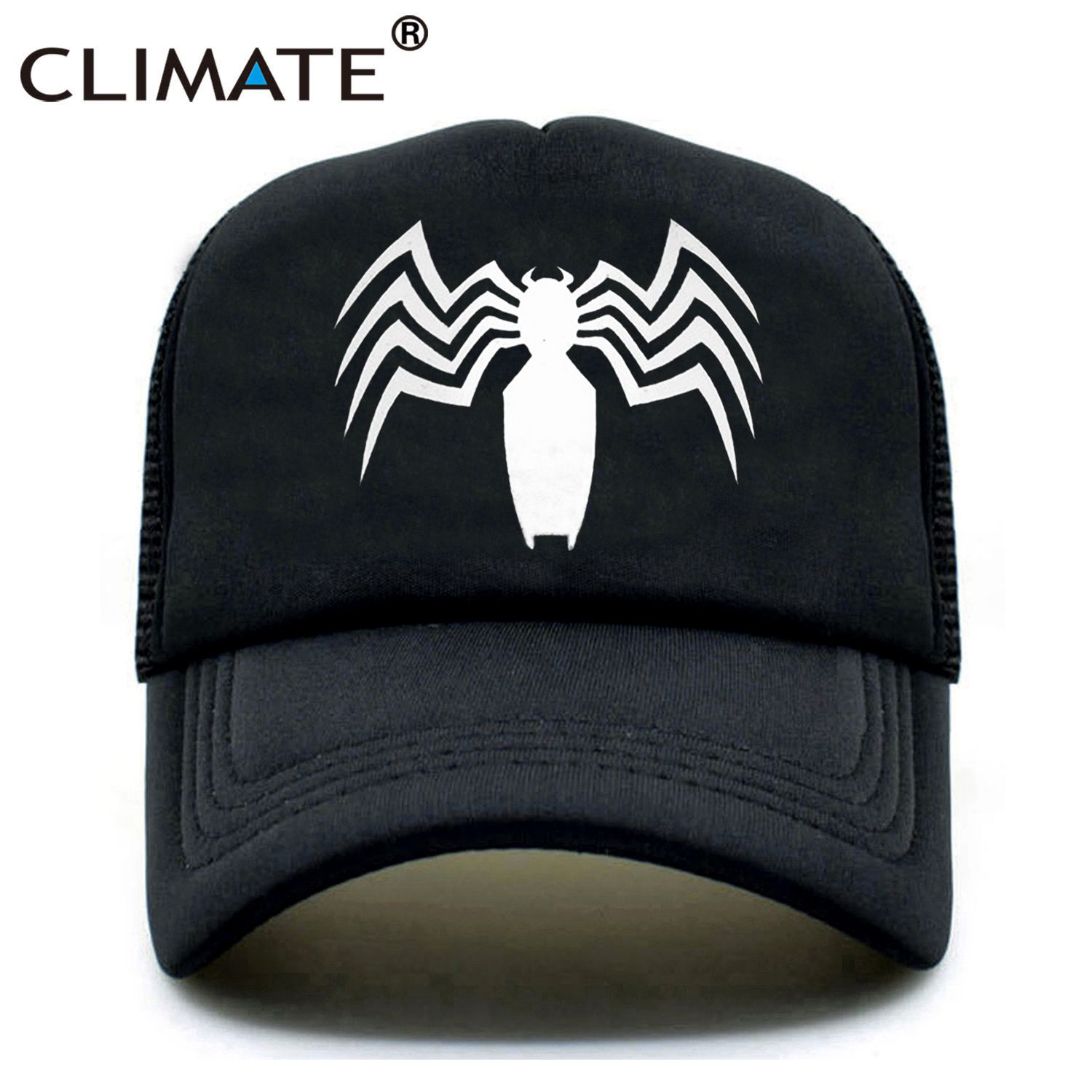 CLIMATE New Men Venom Trucker Caps Hat Black SpiderMan Hip Hop Cool Venom Mesh Caps Venom Summer Seaside Cap Hat for Men Youth