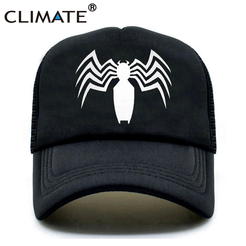 CLIMATE New Men Venom Trucker Caps Hat Black SpiderMan Hip Hop Cool Venom Mesh Caps Venom Summer Seaside Cap Hat for Men Youth