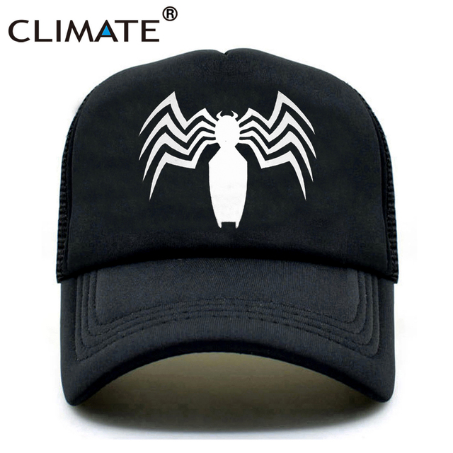 dc6f5ca61e0 CLIMATE New Men Venom Trucker Caps Hat Black SpiderMan Hip Hop Cool Venom  Mesh Caps Venom Summer Seaside Cap Hat for Men Youth