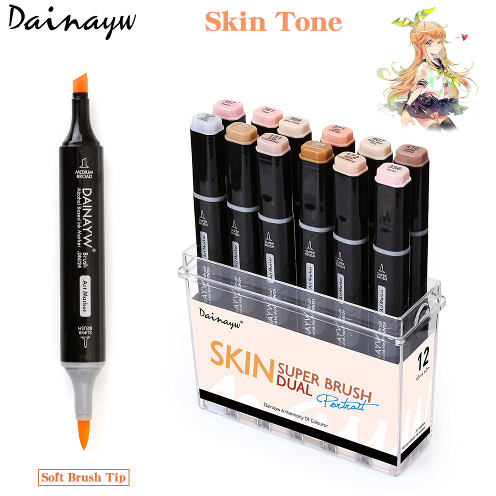 Dainayw 12 Colors Skin Tone Dual Tip Art Sketch Markers Soft Brush Tip Markers for Manga Drawing Design School Supplies dainayw 12 cool grey colors marker pen grayscale dual head art markers set for manga design drawing school student supplies