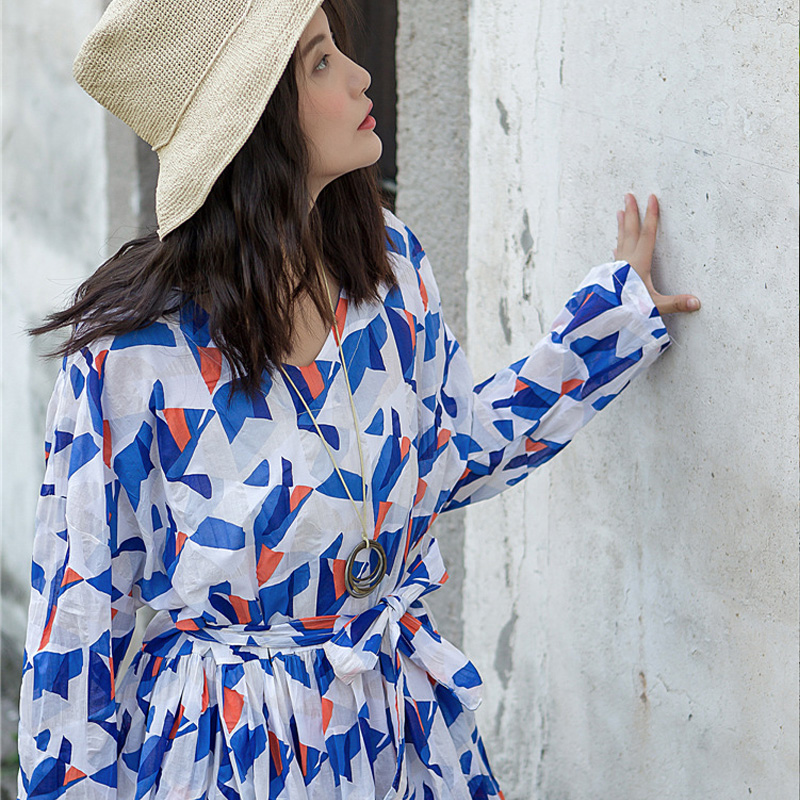 Chiffons Robe Automne V À As Floral Robes Imprimer Picture Femmes Johnature Nouveau Manches Longues Doux Casual 2018 cou Bandage H9IYWDE2