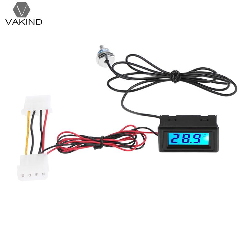 LED Digital Display Temperature Detector Meter Stand Thermometer with G1/4 Thread for Computer PC Water Cooling System digital indoor air quality carbon dioxide meter temperature rh humidity twa stel display 99 points made in taiwan co2 monitor