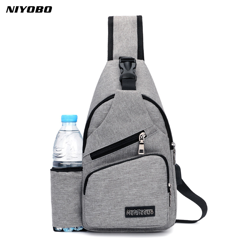 Casual Men's Canvas Chest Backpack with USB Solid Male Chest Back Pack Small Crossbody Bags Sling Single Man Shoulder Bag PT1279