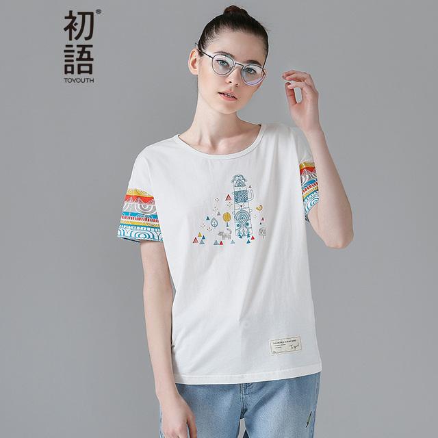 Toyouth 2017 mulheres moda verão camisetas geométrica impresso t-shirt casual top solto roupas femininas bonito curto moda
