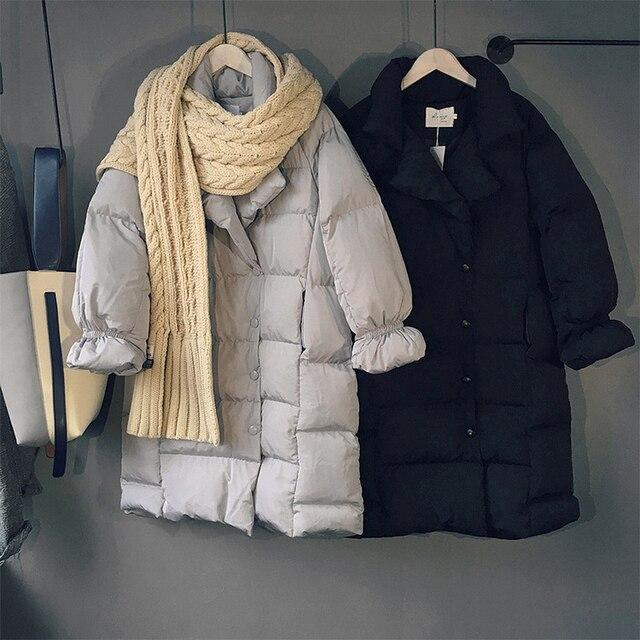 Зима Новый Вниз Пальто Хлопка Clothing Мода Корейской версии Сплошной Цвет Хлопка Куртки Женщины Повседневная Длинный Отрезок Теплое Пальто Женщин
