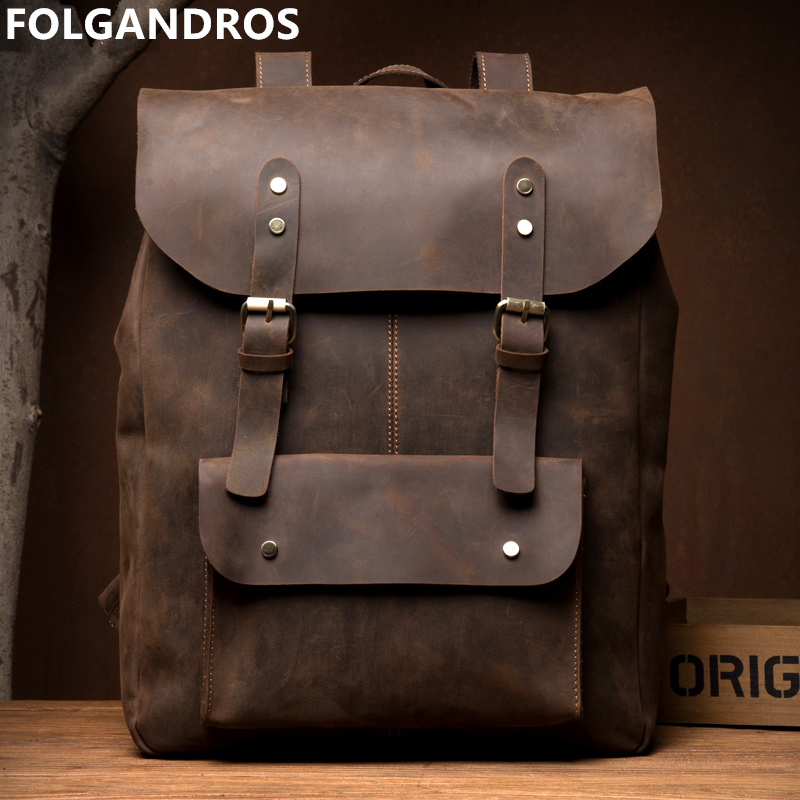 Top Genuine Leather Men's Laptop Backpack Brand Handmade Retro Rucksack Vintage Casual Daypack Overnight Weekender Shoulder Bag
