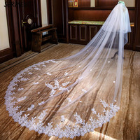 New AliExpress Hot Lace Flower Bridal Veil Europe and America Classic Cathedral Long Veil Wholesale