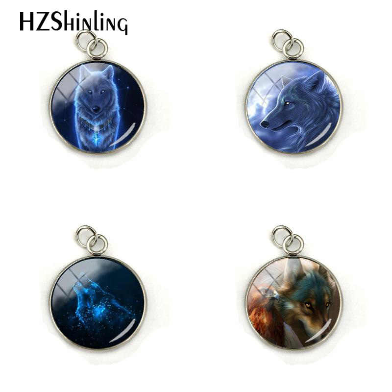 Fashion New Nymph Wolf Cabochon Photos Stainless Steel Plated Pendant Hand Craft Glass Dome Round Charm Jewelry Gifts for Men