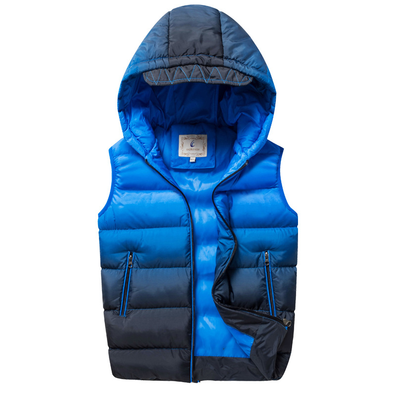 Winter Boys Vest Sleeveless Kids Vest Jacket Thick Warm Children Vests Waistcoats Hooded Outerwear Coat for Boys 7-15Y DQ657 mint green casual sleeveless hooded top