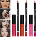 Fashion Lip Make Up 2pcs Lip Contour Color Lipliner Pencil + Long Lasting Lip Gloss Matte Black Liquid Lipstick Kit Star Makeup