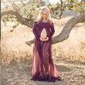 2017 moda maternidade fotografia adereços extravagantes vestidos de maternidade roupas grávidas maxi chiffon dress fotografia maternidade dress