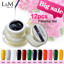 12 pcs package Lvmay brand Nail Gel Lacquer effect  DIY Nail Art Soak Off Gel nail Polish 3 pcs set kit lvmay brand painting gel polish nail art color 3d drawing paint curing lamp soak off professional nails top it off