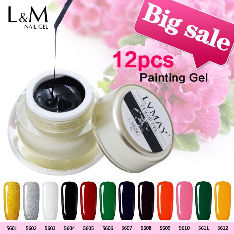 12 pcs paquet Lvmay marque Nail Gel Laque effet DIY Nail Art Soak Off Gel Vernis À ongles