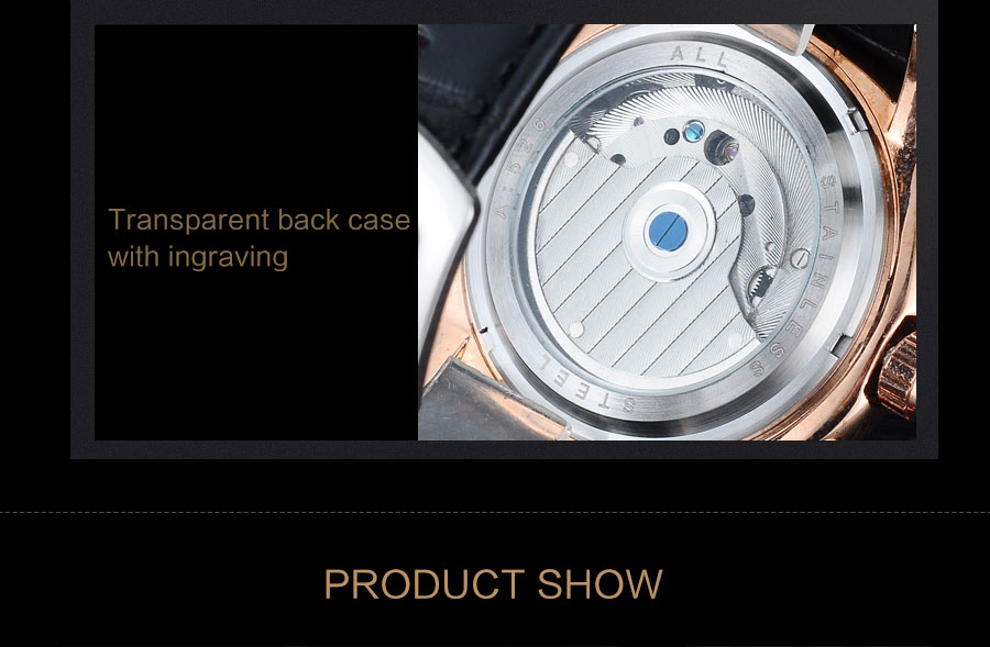 Forsining Convex Glass Stylish Tourbillion 3D Genuine Leather Strap Mens Watches Top Automatic Watch Clock (7)