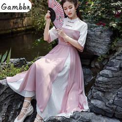Традиционная китайская одежда ханьфу, косплей сказочный костюм танцевальная сцена династии Тан наряд Qipao платье Милая Кружевная Ткань