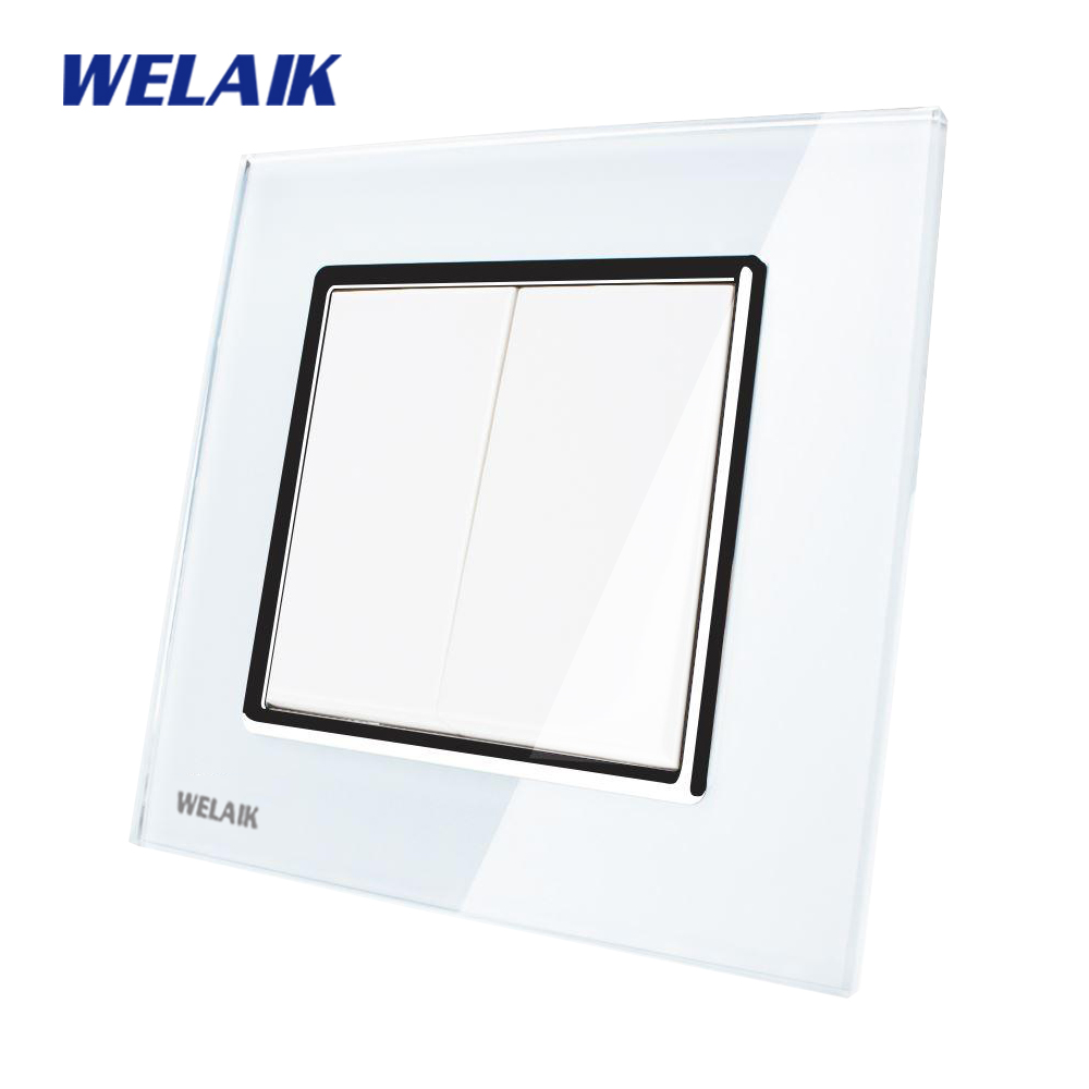 WELAIK Push Button Switch Manufacturer of Wall Light Switch Black White Crystal Glass Panel AC 110-250V 2Gang 1Way A1721W/B manufacturer xenon wall switch 110 240v smart wi fi switch button glass panel 1 gang ivory white eu touch light switch panel
