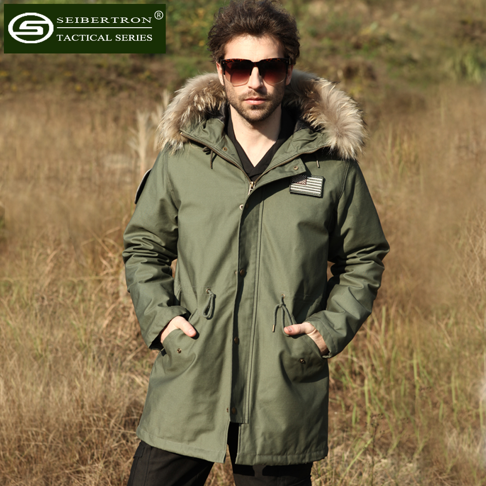 New Seibertron M65 slim fit jacket Field Coat with Liner in Black Olive Natural fur collar winter Hooded Jacket seibertron edc
