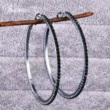 Bamos Punk Black Large Hoop Earrings Simple Full Zircon Circle Statement Earrings For Women Hiphop Korean Jewelry Accessories