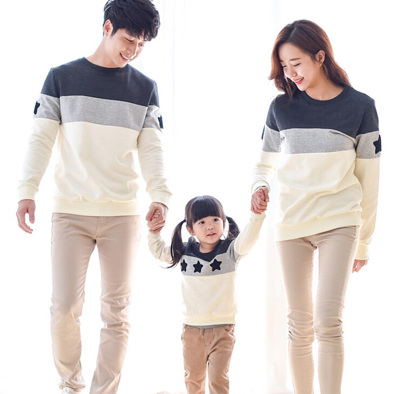 1PC spring/autumn casual family matching Outfits clothes Mom/Dad/Baby Kids Chidren Striped Long-Sleeve T-shirts pullover S2865