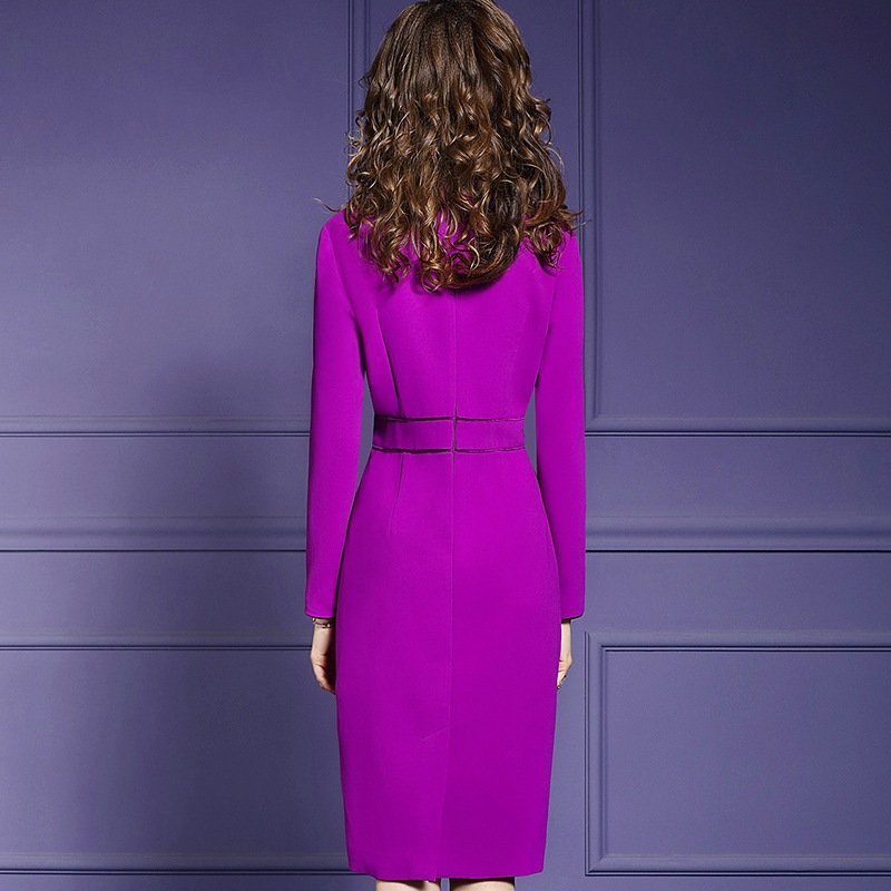 Nouvelles Manches Hiver Sexy Grande Vintage Bureau Robe Longueur Dames Tenue Taille Pleine Femmes Solide Robes Pourpre Genou 2019 De Fête Printemps Dame XukZiPO