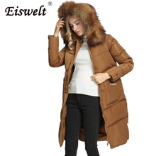 Medium-long Jacket Coats  Plus Size Parkas Thick Women's Coat Down Female Winter Jacket Fur Hooded Outerwear  Camperas