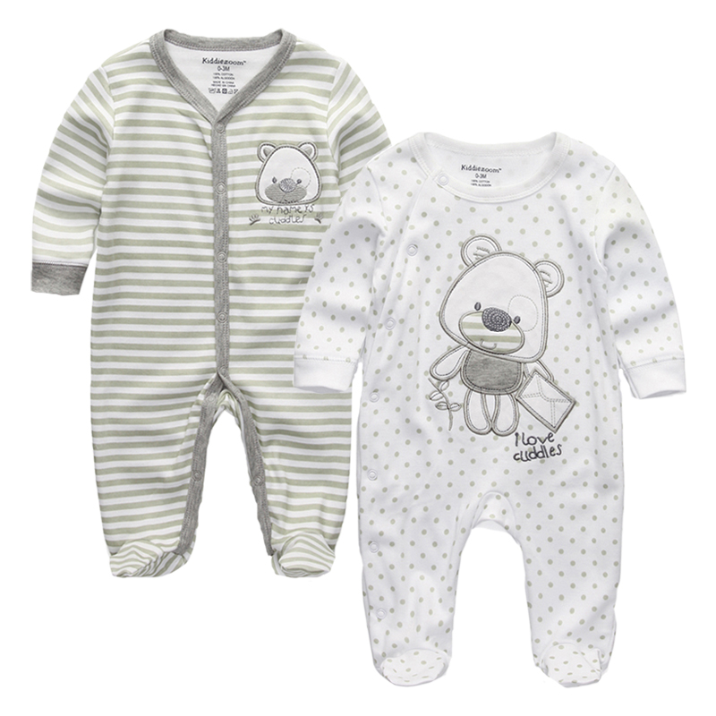 2Pcs Newborn Baby Clothes Boy Gray Cotton Rompers Bear Clothing Baby Pajamas Footed Rompers Long Sleeve Infant Girls Clothes Set cotton baby rompers set newborn clothes baby clothing boys girls cartoon jumpsuits long sleeve overalls coveralls autumn winter
