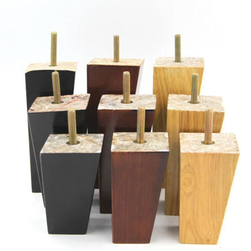 Solid Wood Taper Sofa Leg 4 Pcs Per Set  4'' 5'' 6'' Wardrobe Type Cabinet Chair TV Tea Table Bed Furniture Feet 3 Size Optional