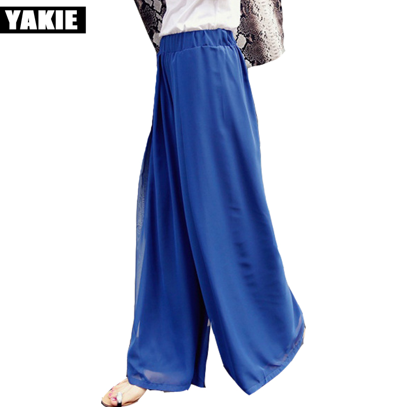 Plus size 6XL Women chiffon   Wide     Leg     Pants   Capris Summer Leggings black blue Ladies trousers Loose   Pants   Pantlone Femme 2017