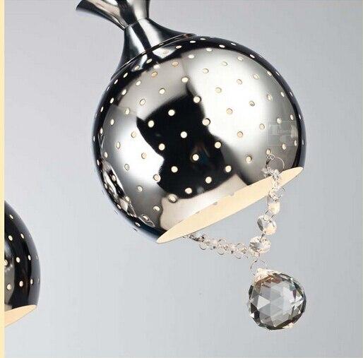 modern pendant light metal hollow crystal pendant chrome ...