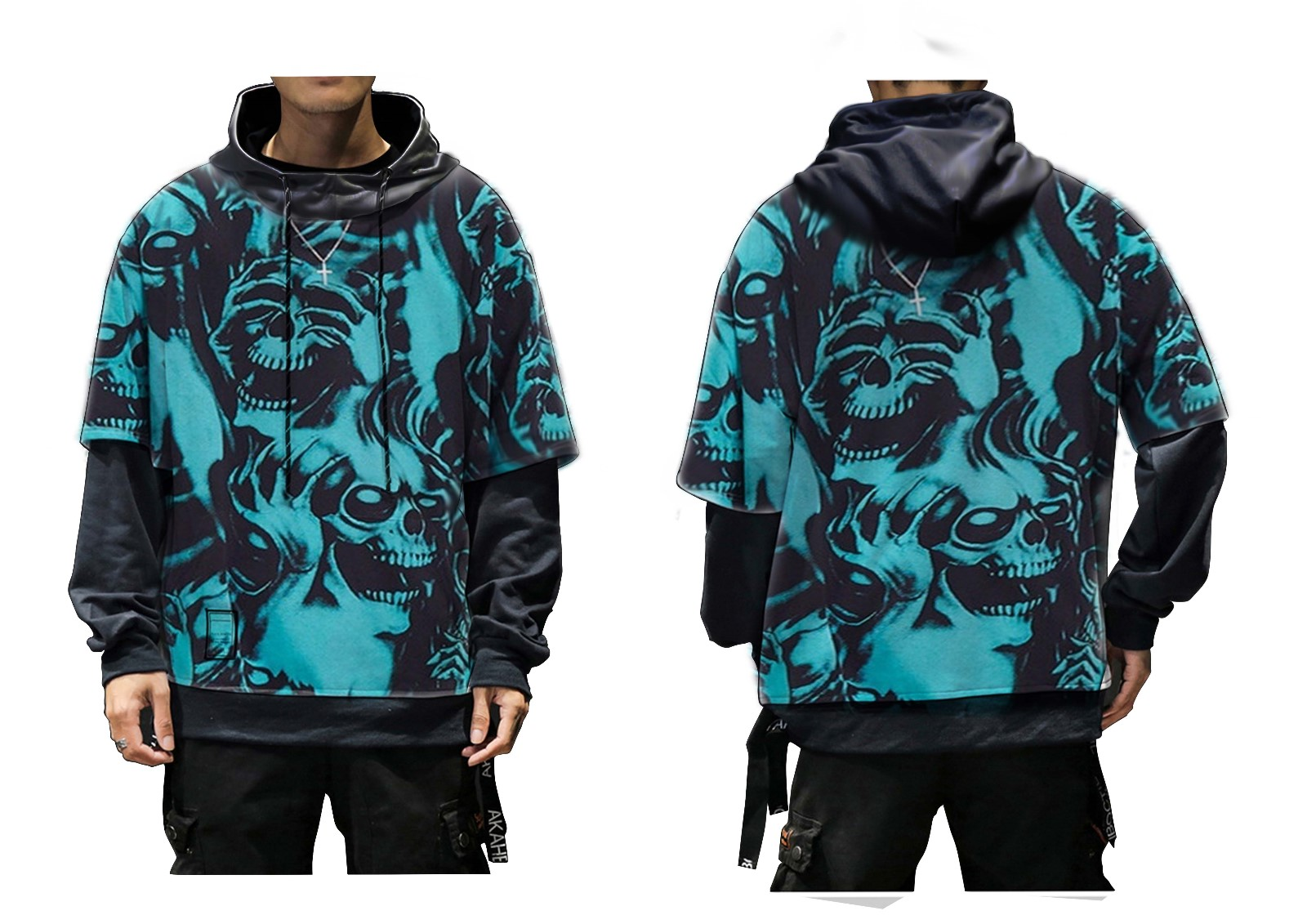 ZOGAA Causal Print Hooded Sportswear Fake 2 Pcs Blue Color Short Sleeve Hoodies S-3XL