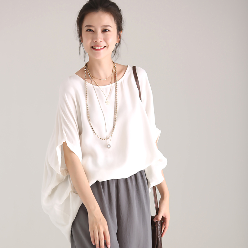 C7211 big code, round neck pure color copper ammonia bat short sleeve shirt female 2018 summer-in Blouses & Shirts from Women's Clothing    3