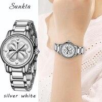 SUNKTA Women Dress Watches Luxury Brand Ladies Quartz Watch Women Waterproof Casual Silver Bracelet Wristwatch Relogio Feminino
