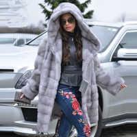 TOPFUR 2019 Winter Real Nerz Mantel Frauen Natürliche Nerz Medium Mäntel Mit Gürtel Dicke Warme Vollen Ärmeln Mäntel mit Pelz Haube