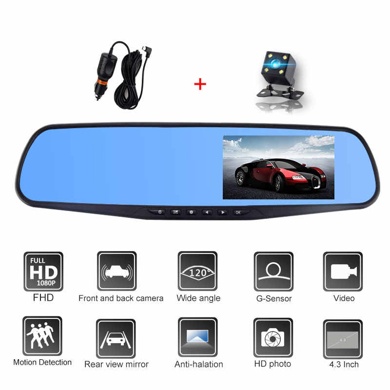 4.3 Polegada Full HD 1080P Câmera Do Carro Dvr Espelho Retrovisor Auto Registratory Filmadora Digital Gravador de Vídeo de Lente Dupla
