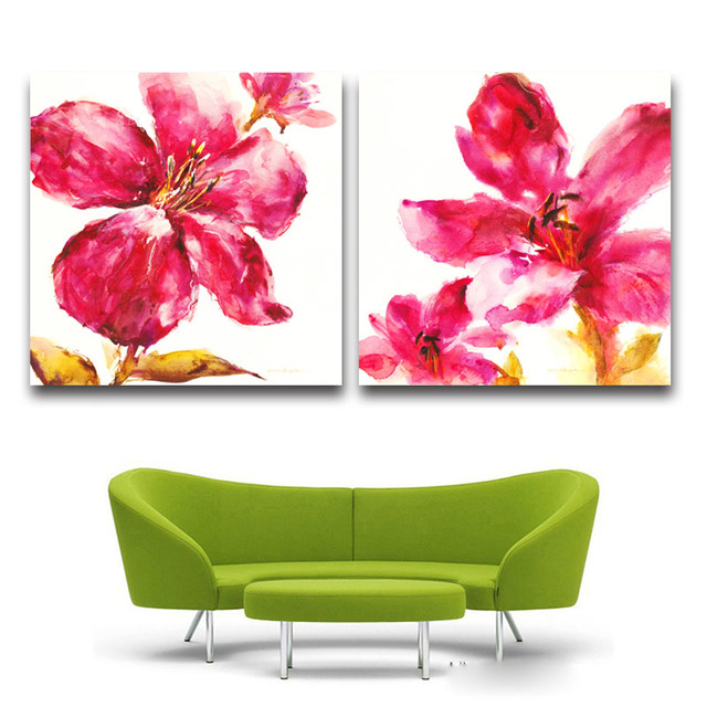Acheter aquarelle rouge fleurs dessin for Dessiner sur un mur peinture