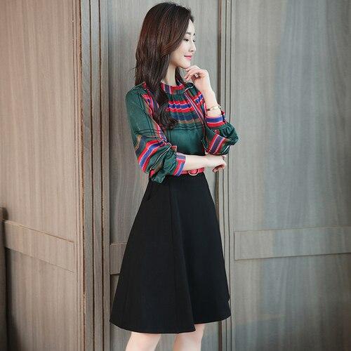 Printemps Coréenne à manches longues Faux Deux Pièces robe pour femme Vert Plaid Patchwork Taille Haute Robes Femme Mode Office Lady Vêtements - 3